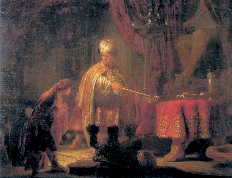 Daniel and King Cyrus in front of the Idol of Bel, 1633 - Rembrandt