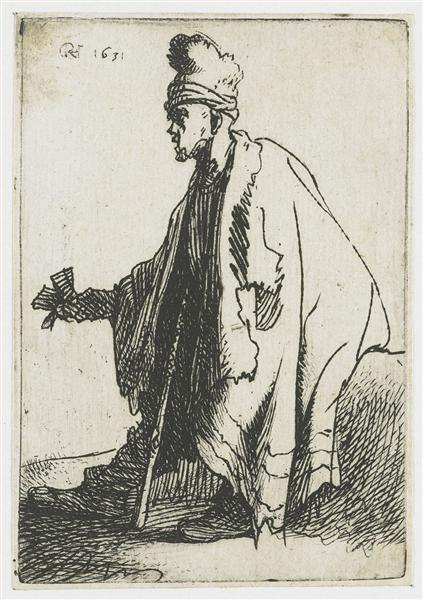 The leper (Lazarus clep), 1631 - Rembrandt