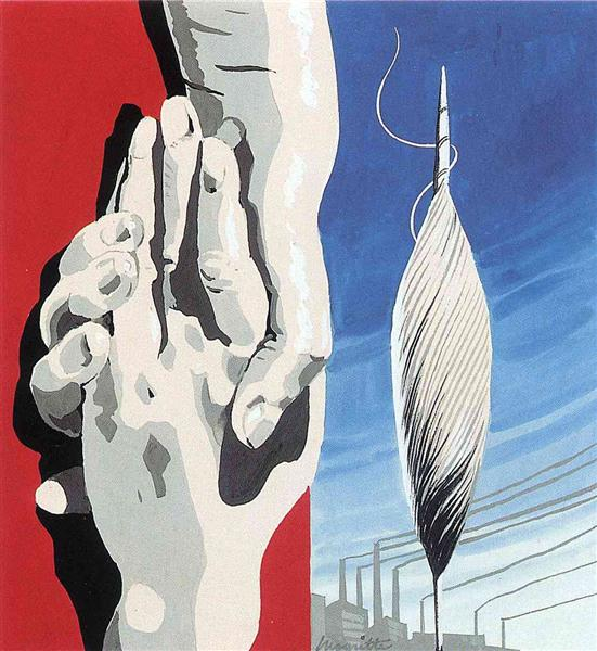 """Project of poster """"The center of textile workers in Belgium"""", 1938 - Rene Magritte"""