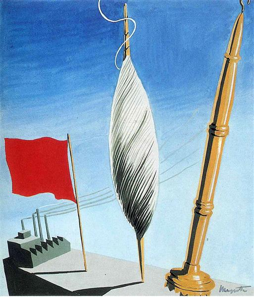 "Project of poster ""The center of textile workers in Belgium"", 1938 - Rene Magritte"