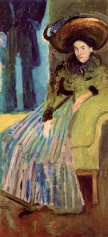 Seated Woman in green dress - Richard Gerstl