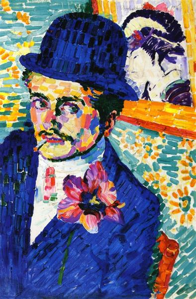 Man with a Tulip (also known as Portrait of Jean Metzinger) - Robert Delaunay