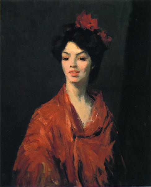 Spanish Woman in a Red Shawl, 1907 - Robert Henri