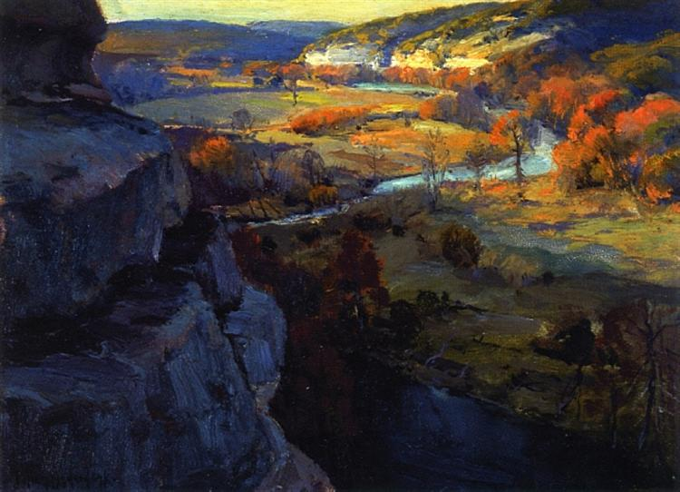 Bluffs on the Guadalupe River, 17 Miles above Kerrville, Texas, 1921 - Robert Julian Onderdonk