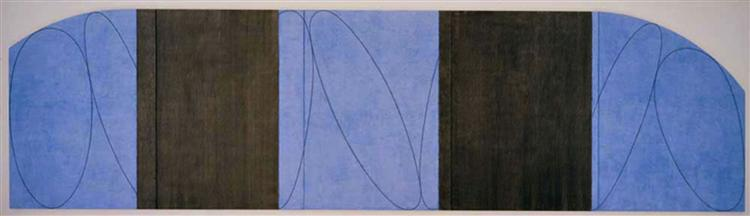 Blue-Black Five Panel Zone Painting, 1998 - Robert Mangold