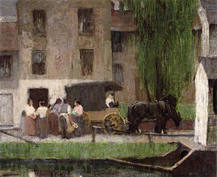 The Peddler's Cart on the Canal, New Hope - Robert Spencer