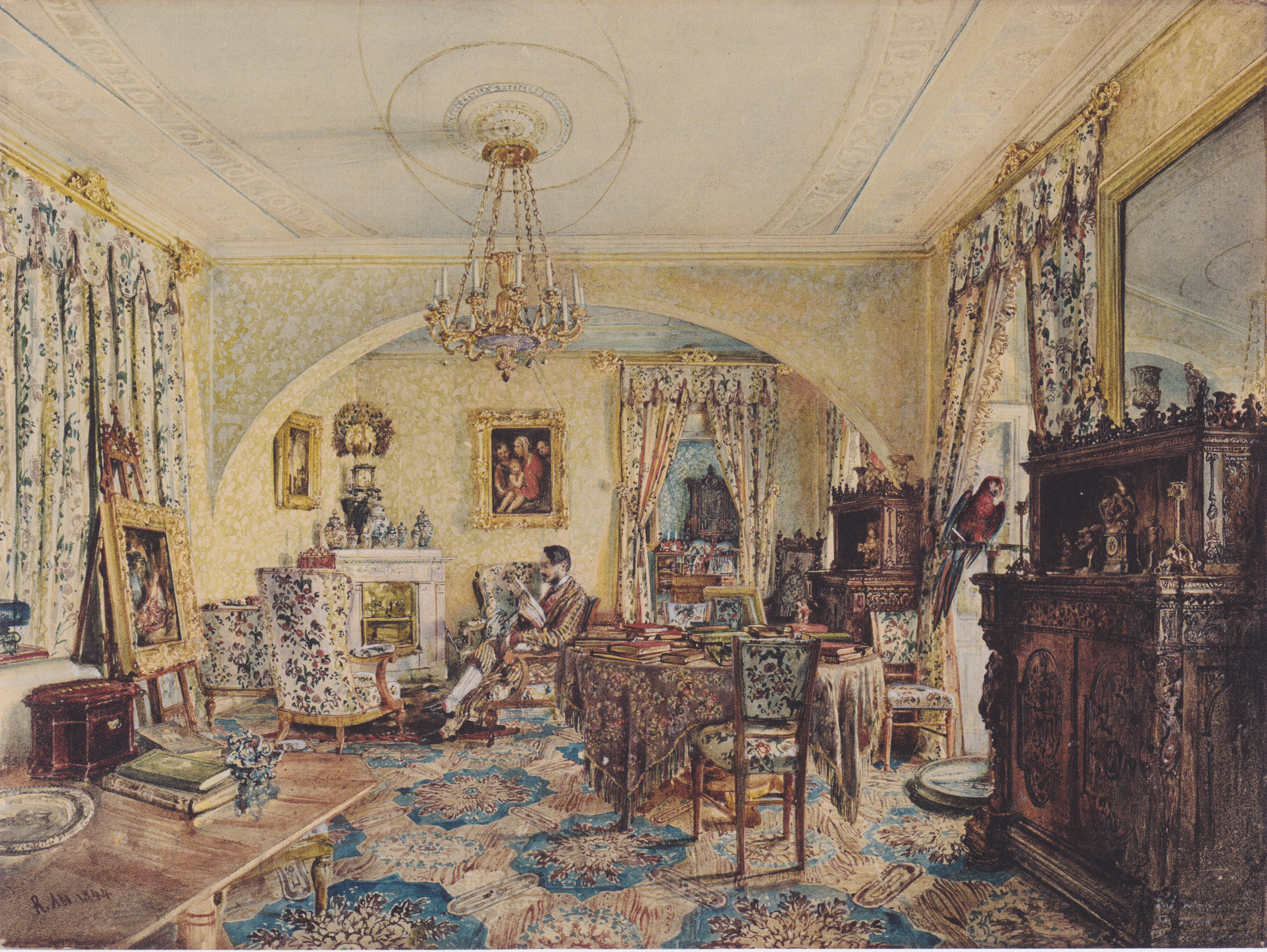 Count Casimir Batthyány in his saloon at Castle Siklós, 1844