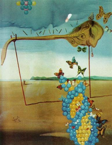 Butterfly Landscape (The Great Masturbator in a Surrealist Landscape with D.N.A.) - Salvador Dali