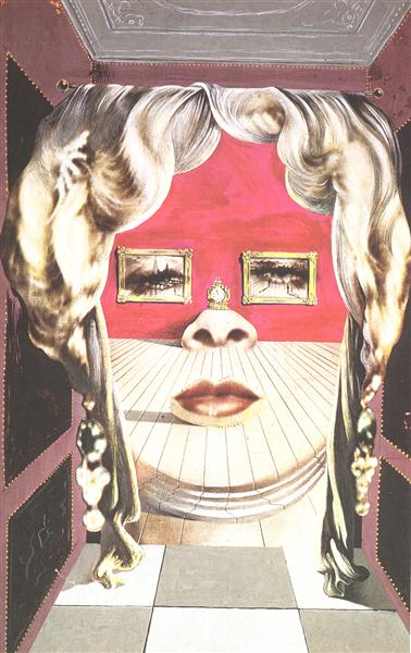 Face of Mae West Which May Be Used as an Apartment - Dali Salvador
