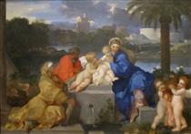 The Holy Family with Saints Elizabeth and the Infant John the Baptist - Sébastien Bourdon