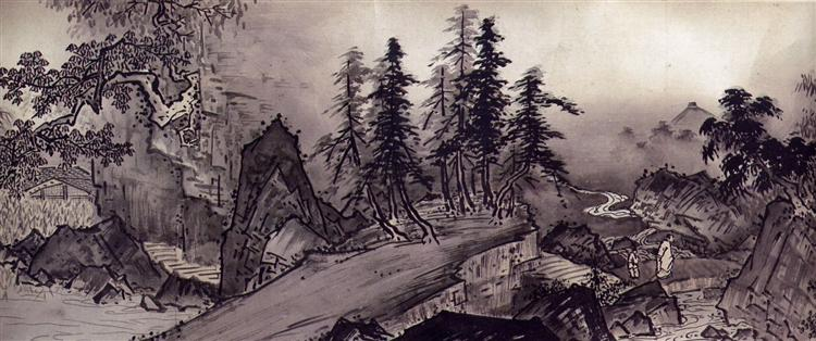 Sansui chokan, detail, 1496 - Sesshū Tōyō