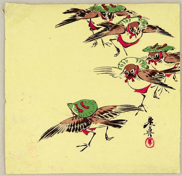 Birds in Festival, 1900 - Шибата Зешин