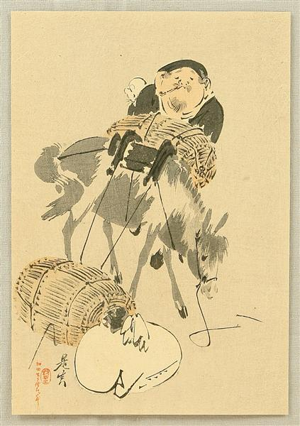 Daikoku and Mouse, 1880 - Шибата Зешин