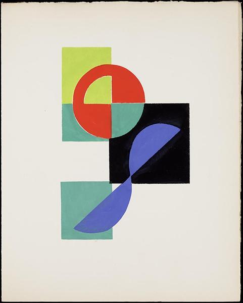 "Untitled gouache (Illustration for Tristan Tzara's ""Le fruit permis""), 1956 - Sonia Delaunay"