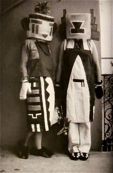 Sophie and Erika Taeuber (Hopi Indian Costumes) - Sophie Taeuber-Arp