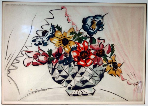 Pot of Flowers (litograph with Jacques Villon), 1929 - Suzanne Duchamp