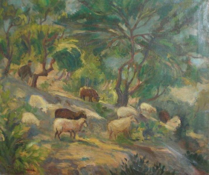 Sheep on a slope - Thalia Flora-Karavia