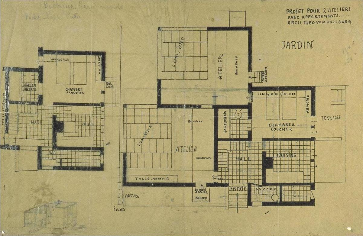 Double Studio Apartment Design Plans And Axonometry 1927