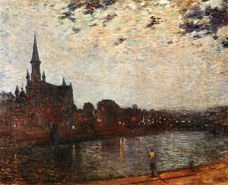 Holy Cross Church at Ixelles at Night, 1886 - Theo van Rysselberghe