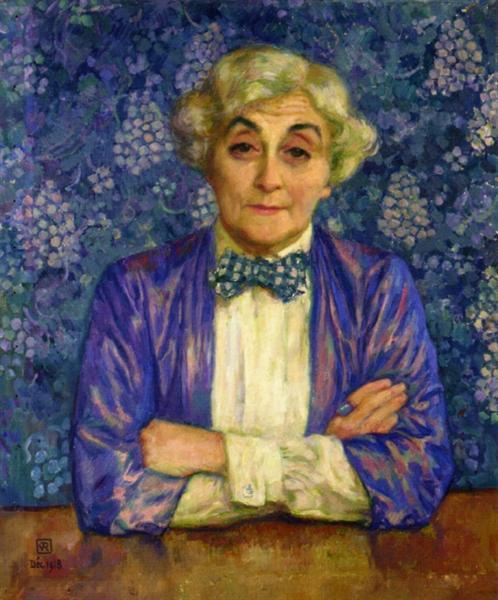 Madame van Rysselberghe in a Chedkered Bow Tie, 1918 - Theo van Rysselberghe