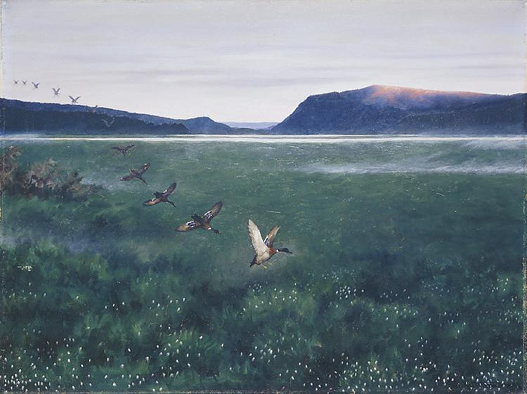 The 12 wild ducks 12 villender - Theodor Severin Kittelsen