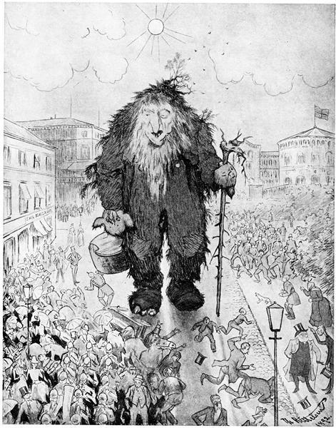 Troll at the Karl Johan Street - Trollet på Karl Johan - Theodor Severin Kittelsen