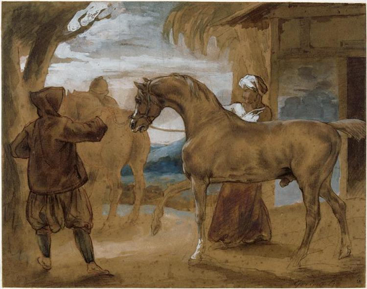 Arabian Stallion led by two Arabians to breed - Théodore Géricault
