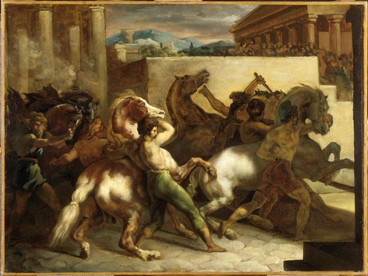 The Wild Horse Race at Rome, c.1817 - Théodore Géricault