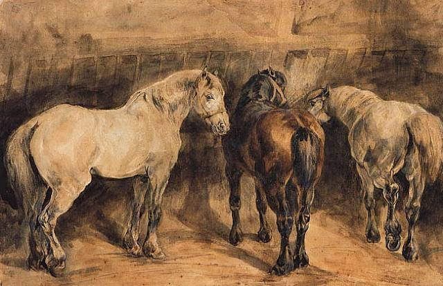 Three horses in their stable, c.1822 - c.1823 - Théodore Géricault