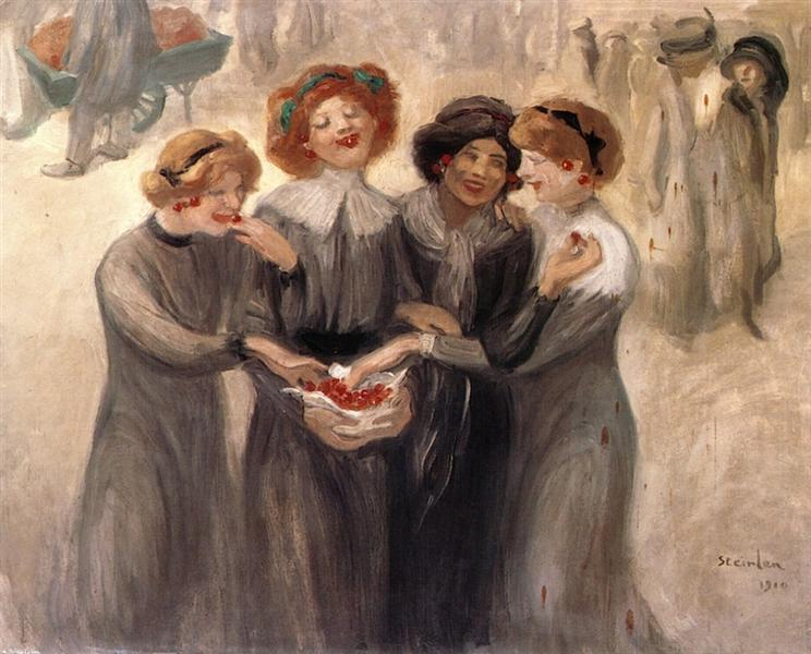 Four Women with a Basket of Cherries - Theophile Steinlen