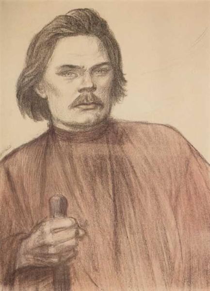 Maxime Gorki à mi-corps de face, 1905 - Theophile Steinlen