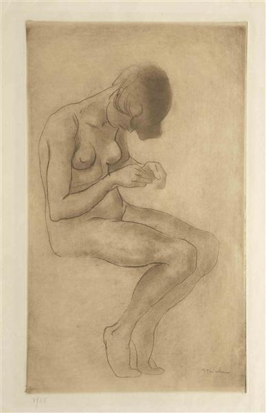 Woman doing nails - Theophile Steinlen