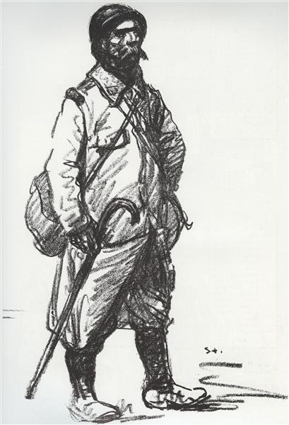 Permissionaire tenant une canne, 1916 - Theophile Steinlen