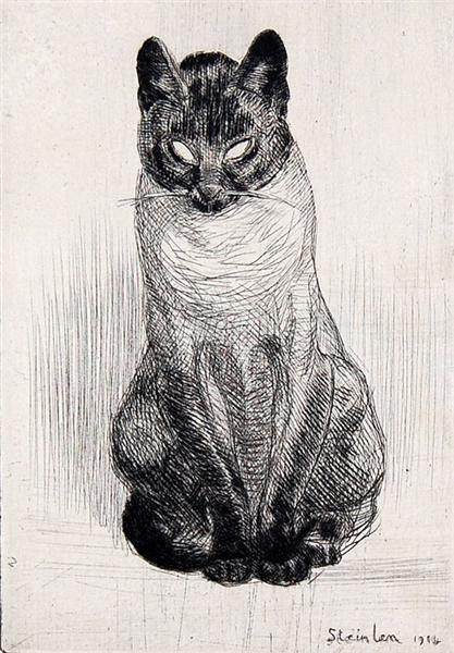 Seated Siamese cat - Theophile Steinlen
