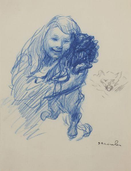 Steinlen's daughter Colette with cat - Theophile Steinlen