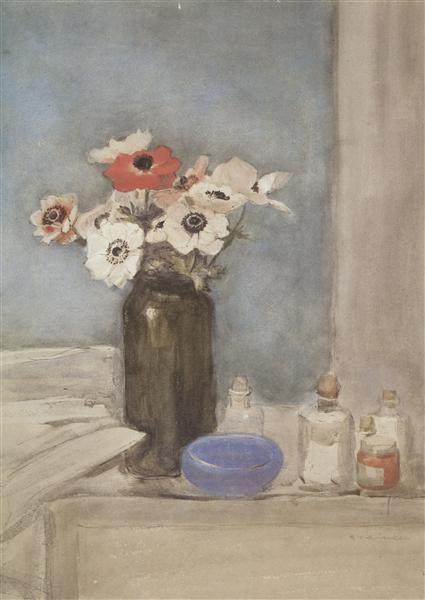 Still Life With Anemones, 1910 - Theophile Steinlen