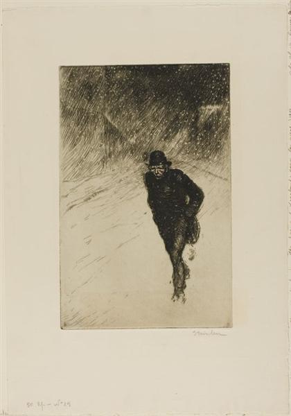 Vagabond Sous La Neige, 1902 - Théophile Alexandre Steinlen