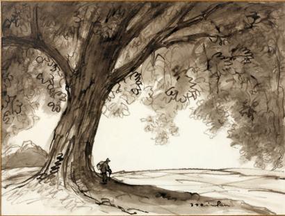 Vagabond under tree - Theophile Steinlen