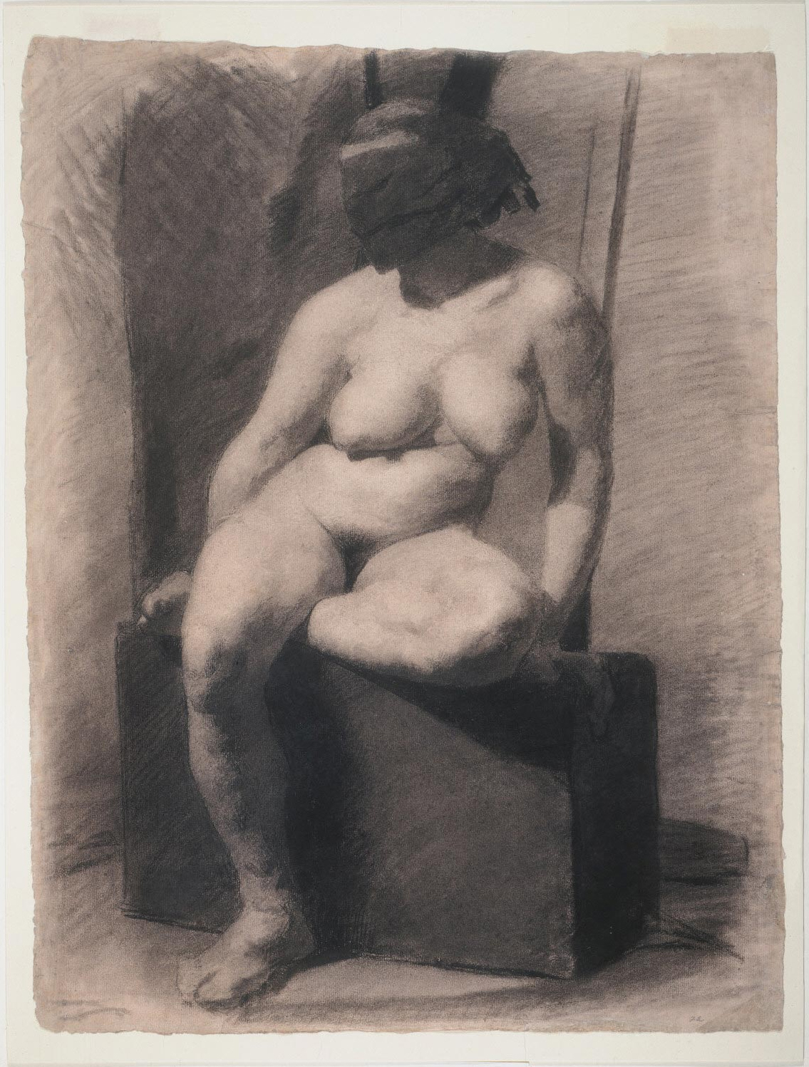 Masked Nude Woman Seated