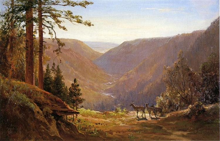 Valley with Deer - Thomas Hill