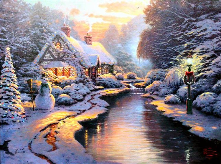Thomas Kinkade Christmas.Christmas Evening 2005 Thomas Kinkade Wikiart Org