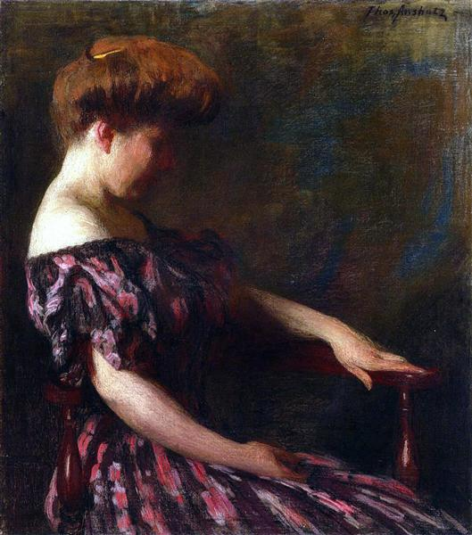 A Flowered Gown, 1906 - Томас Поллок Аншутц