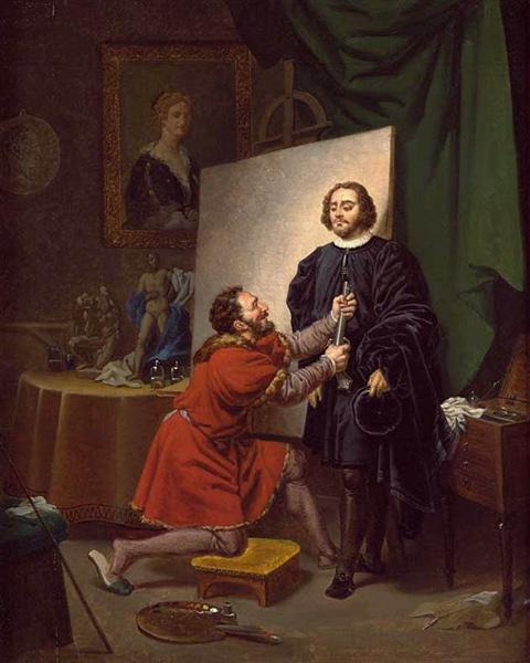 Aretino in the Studio of Tintoretto - Tintoretto