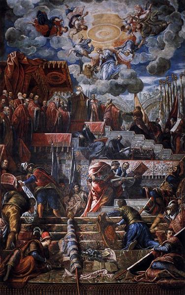 Doge Nicolò da Ponte Receiving a Laurel Crown from Venice, 1584 - Tintoretto