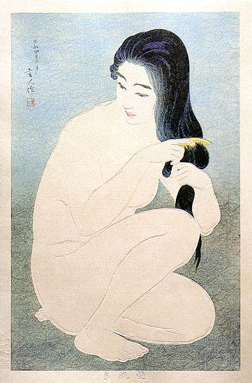 Combing in the Bath, 1929 - Torii Kotondo