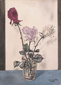 Trois roses dans un vase - Цуґухару Фудзіта