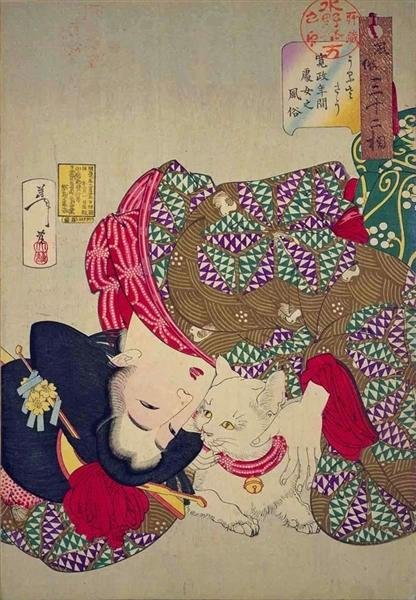 A young woman from Kansei period playing with her cat - Tsukioka Yoshitoshi