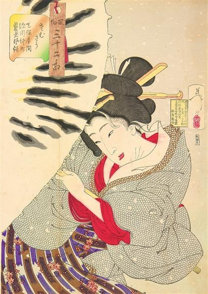 Looking cold - The appearance of a-Fukagawa-Nakamichi-Geisha-of-the-Tempo-era - Tsukioka Yoshitoshi