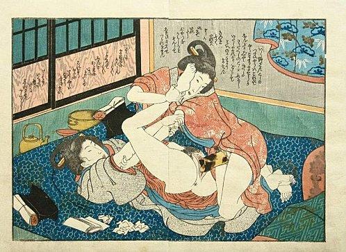 Lesbians having sex by a harikata (dildo) - Utagawa Kunisada