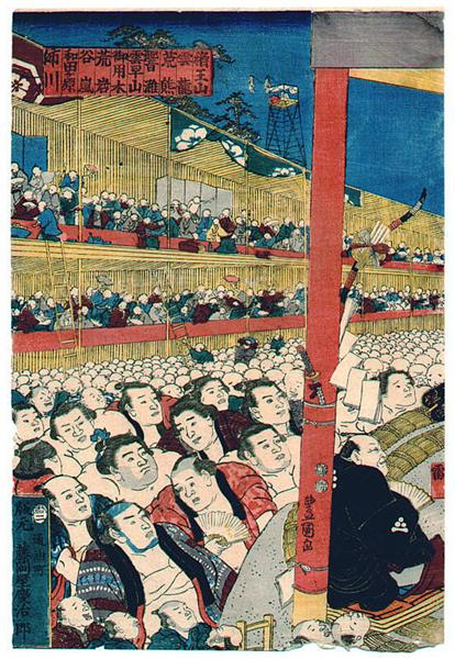Sumo Spectators - Utagawa Kunisada